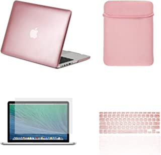 TOP CASE - 4 in 1 Essential Bundle Matte Hard Case,Keyboard Cover,Sleeve Bag,Screen Protector Compatible Old MacBook Pro with Retina Display Model A1425 and A1502 - Rose Gold
