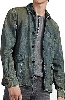 John Varvatos Star USA Men's Long Sleeve Darren Worker Shirt Jacket Washed Denim