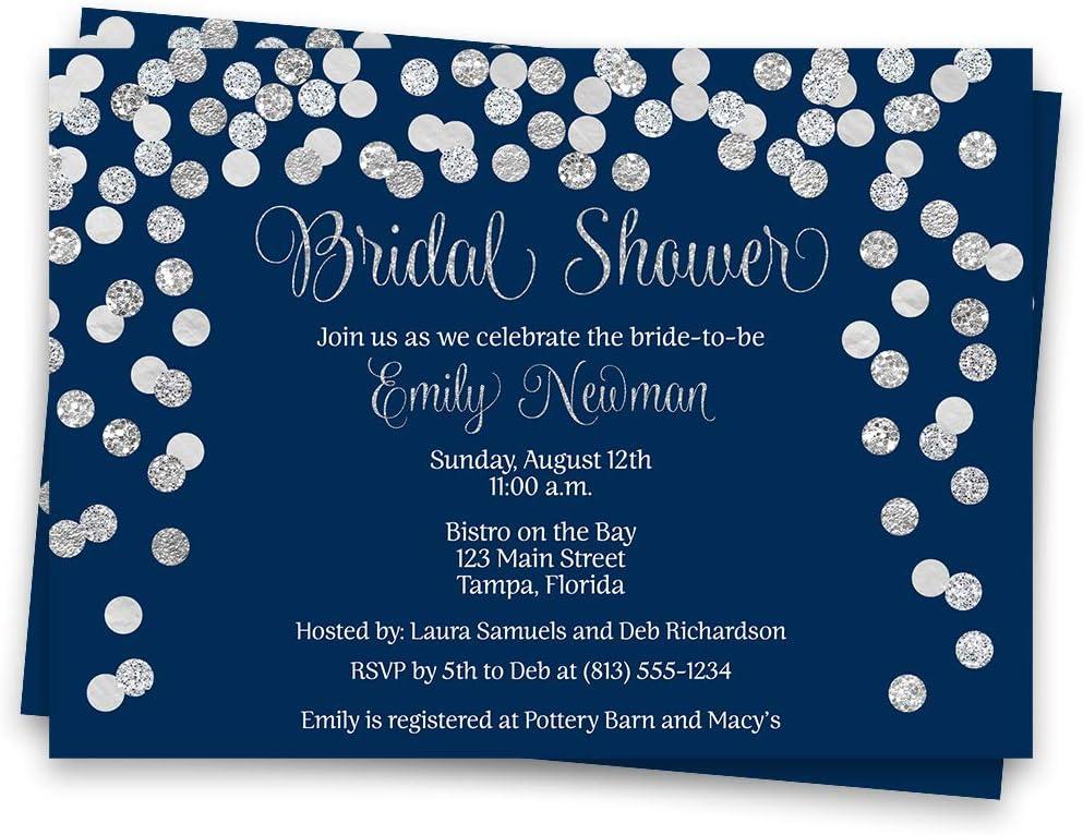rehearsal dinner IN602 bridal shower invitations navy bridal shower invitations bridal shower package wedding invitations
