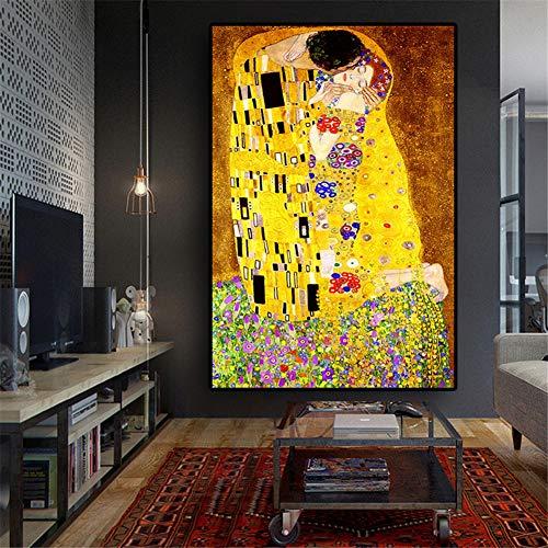 DIY 5D Diamond Painting Nach Zahlen Kits Gustav Klimt Kuss 50x70cm(20x28in)Bilder Voll Kleine Diamant Malerei Embroidery Pasted Mosaik Leinwand Cross Stitch für Home Wohnzimmer Wanddekoration Geschenk