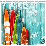 CICIDI Cortina de ducha para surf, tablas de surf con diferentes diseños y tamaños sobre fondo de madera azul, cortinas de baño de tela de poliéster con ganchos de 182 x 182 cm