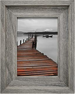 Eosglac Rustic 5x7 Picture Frame, Solid Wood with Glass Front, Wall Mounting or Tabletop, Handmade, Weathered Grey