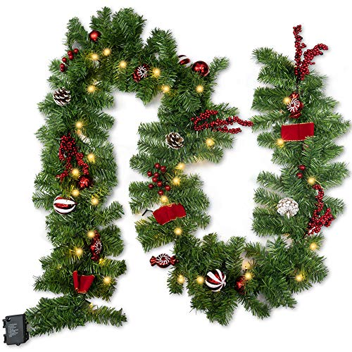 FUNPENY Christmas Artificial Garland with 50 LED Light, 9 FT Christmas Pinecone Wreath Flocked with Mixed Decorations, Crestwood Spruce for Front Door Decoration and Christmas Party