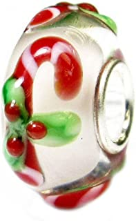 Queenberry Sterling Silver Candy Stick Christmas European Style Glass Bead Charm