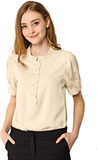Allegra K Women's Ruffled Half Button Placket Top Short Sleeves Round Neck Solid Color Work Office Blouse
