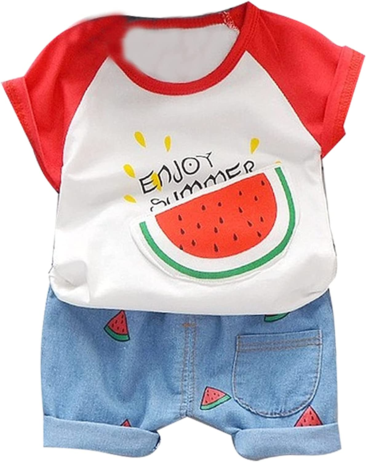 NC Children's Summer Short-Sleeved Cotton T-Shirt Suit, Super Soft, Comfortable, Breathable and Durable, Solid Color Round Neck, V Neck, Easy to Carry