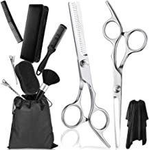 Updated 2020 Version Professional Hair Cutting Scissors Set 11PCS Hair Cutting Black Kit, Thinning Shears, Hair Razor Comb...