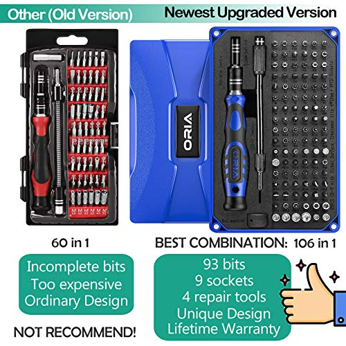 ORIA Precision Screwdriver Set (Newest) 106 in 1 with 102 Bits Magnetic Torx Screwdriver kit with Case Professional Repair Tool with Magnetizer for Electronics PC iPhone iPad Watch Jewelers Blue