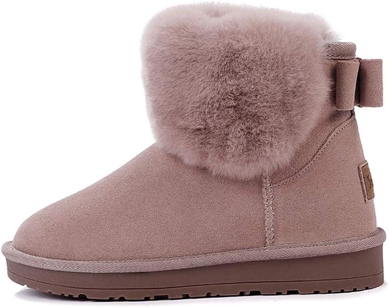 Ailj Snow Boots, Women's Leather Plush One Warm Boots Flat Waterproof Short Boots Cotton shoes (4 colors) (color   Pink, Size   36 EU 4.5 US 3.5 UK 23cm JP)