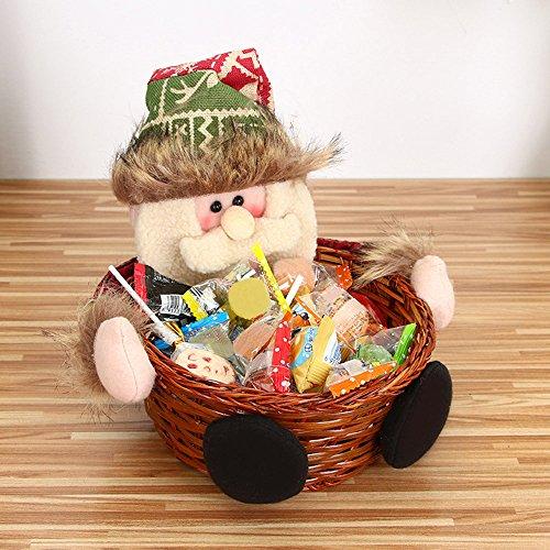 Amphia Geschenkbox - Weihnachts-Süßigkeiten-Speicher Korb Dekoration Santa Claus Speicher Korb Geschenk(Abmessungen:18 * 16cm)