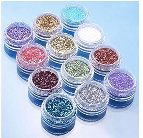 12pcs Couleur Paillettes Poudre Poudre Astuce Décoration Nail Art