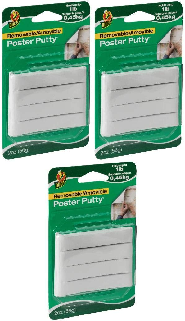 White 2 oz Duck Brand Reusable and Removable Poster Putty for Mounting - New 1436912