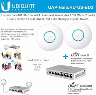 UniFi nanoHD UAP-nanoHD-US (2-Pack) Compact Dual Band Wave2 Enterprise Wi-Fi 4x4 MIMO 1730 Mbps with UniFi Switch 8 US-8-60W 8-Port Fully Managed Gigabit Switch 802.3af PoE