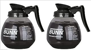 BUNN Glass Coffee Pot Decanter/Carafe, Regular, 12 cup Capacity, Black, Set of 2