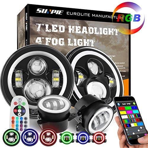 "7"" RGB Halo LED Headlights + 4"" Fog Lights for Jeep Wrangler 1997-2018 JKU JK Rubicon TJ LJ"