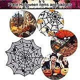 DECARETA Halloween Tischdecke Rund Schwarz Spinnennetz Spinnweben 102 cm Durchmesser Halloween Tischdeko Spinnen Netz für Karneval Halloween Party Dekoration - 4