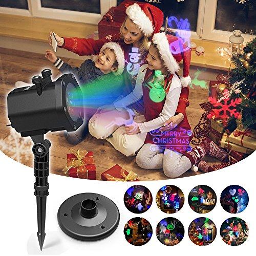 Projektorlampe Weihnachten Holloween, Projektion Lichter Sternen Sternenklare Lichter Garten Innen im Freien Wasserdichte RF Fernbedienung