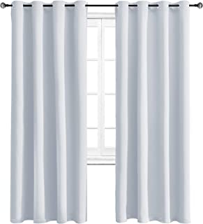 WONTEX Blackout Curtains Room Darkening Thermal Insulated Living Room Curtains, 52 x 84 inch, Greyish White, 2 Grommet Curtain Panels