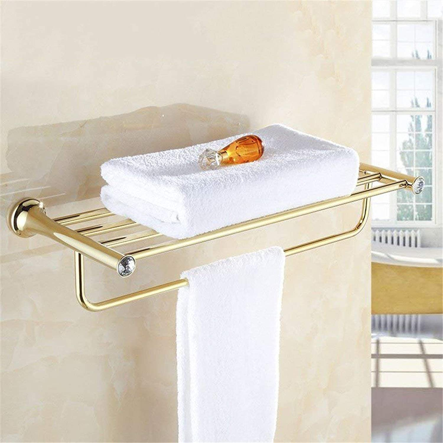 gold Plated Brass Diamond European Accessories Set of Bathroom Furniture Dry-Towels Dry-Towels,Toilet Brush Shelf