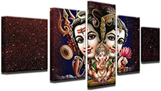 HD Printed Modular Pictures Canvas Painting for Living Room Home Decor 5 Piece Shiva Parvati Ganesh Poster Wall Art-with Frame