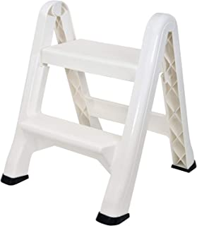 Spigo 2-Tier Step Stool Ladder, Durable Construction, Compact and Lightweight, Perfect Your Home or Workplace, Rust Resistant, One-Handed Operation, 22.5x20.5x19 Inches (White)