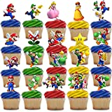 Decoración para cupcakes Super Mario Super Mario para tartas, 50 unidades, suministros para fiesta de cumpleaños de Super Mario para fans de Mario, fiesta de cumpleaños para niños