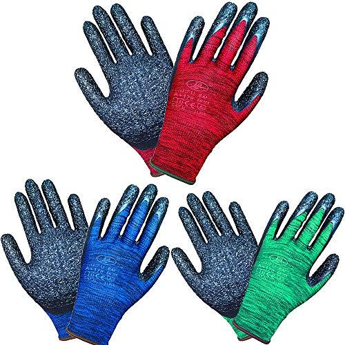 Lifecare 3 Paar mehrfarbige Gartenhandschuhe für Frauen und Männer, Latexbeschichtung ausgezeichnete Griffarbeitshandschuhe für Gartenarbeit, Angeln, Bauen, Restaurieren (Mittlere Größe)