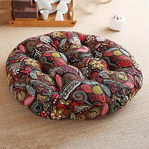 Thicken Cotton Linen Chair Cushion,Floor Seat Cushion Pillow Round,Japanese Futon Chair Pad,Tatami Seating Floor Mat for Living Room G 56x56x8cm(22x22x3in)