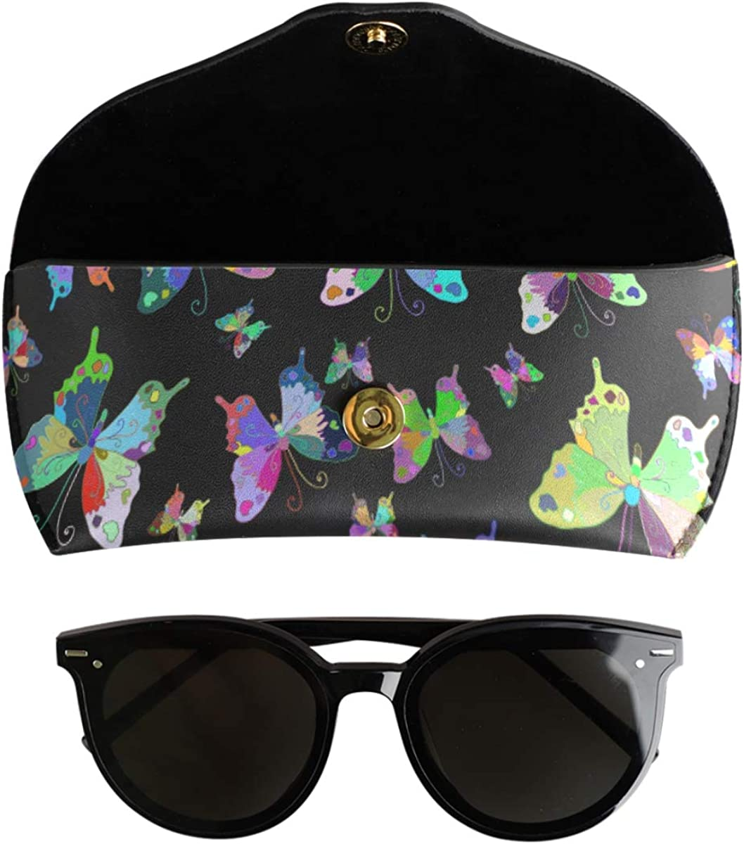 Mysterious Rainbow Butterflies Goggles Bag PU Leather Multiuse School Portable Sunglasses Case Eyeglasses Pouch
