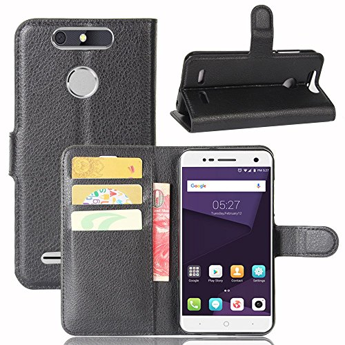 Ycloud Tasche für ZTE Blade V8 Lite Hülle, PU Kunstleder Ledertasche Flip Cover Wallet Hülle Handyhülle mit Stand Function Credit Card Slots Bookstyle Purse Design schwarz