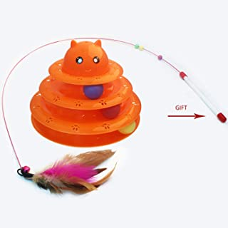 PETOVO Cat Toy Tower of Tracks, 3 Level Circle Track Tower of Interactive Fun Exercise with Running Ball and Safe Top Design for Kitten Cat