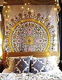 Sketched Floral Medallón–Oro indio cabecero de cama colgante de pared decoración para el hogar, 60'x 80,' Twin Size