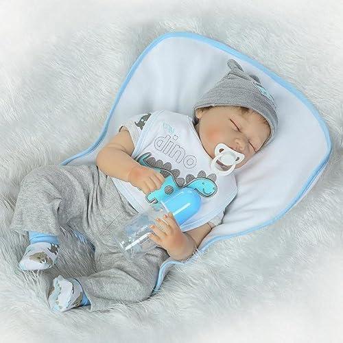 QXMEI Voll Vinyl Silikon   Real Touch Baby Lebensechte Reborn Puppen Realistische Neugeborenen Puppe Schlaf Junge Dummy Kinder Spielzeug Geburtstagsgeschenk 22 Zoll