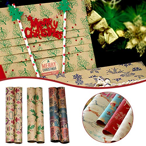 Janly Clearance Sale Rollo de papel kraft para manualidades, para decoración de Navidad, para el hogar y el jardín, (B)