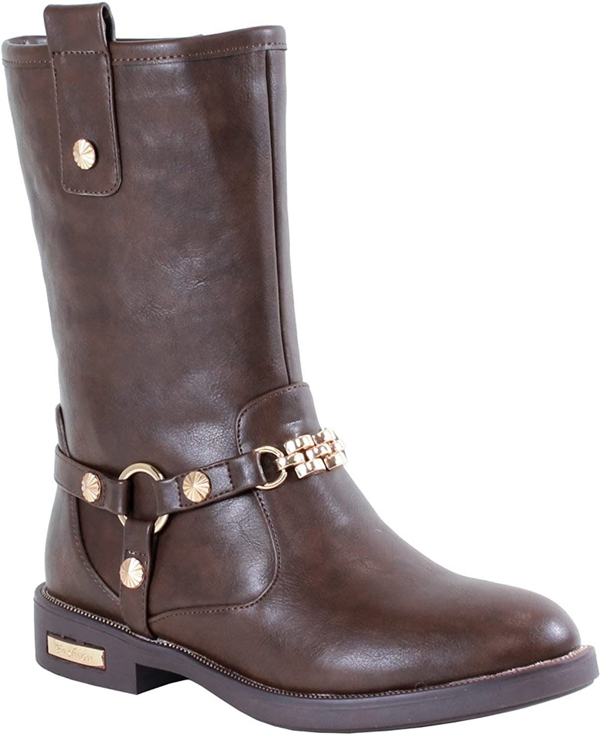 Reneeze JANET-05 Womens Fashionable Mid-Calf Western Boots with Metal Studs and Chain - Brown