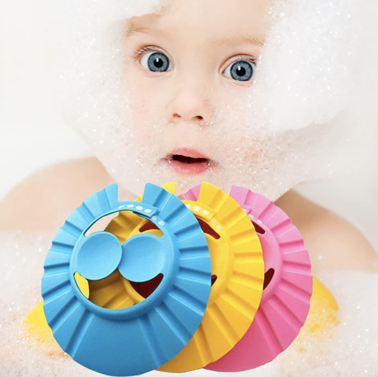Baby Shower Cap for Washing Hair| Baby Hair Washing Guard Bathing Shampoo Shower Visor Protection Hat, Adjustable Toddler Shower Cap Hair Washing hat for Toddlers Children, Baby, Kids .(3 Pcs)