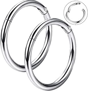 16G 316L Surgical Steel Hinged Clicker Segment Septum Lip Nose Hoop Ring Helix Daith Cartilage Tragus