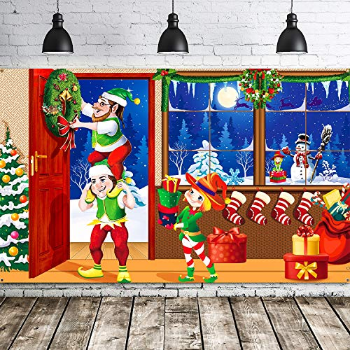 Merry Christmas Backdrop Scene Setters Banner Welcome Winter Snow Decorative Xmas Background for Wall Decoration Christmas Party Decor Holiday Time (Green Christmas Elves)