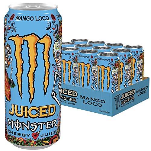 Monster Energy Mango Loco mit tropischen Mangosaft - mit Kohlensäure, Energy Drink Palette 24 x 500 ml & Gratis Aufkleber