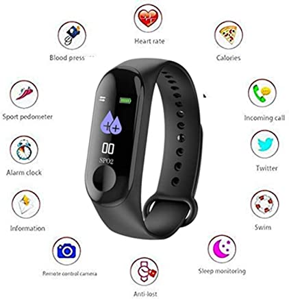 Ezip M3 Intelligence Bluetooth Health Wrist Smart Band Watch (Black)