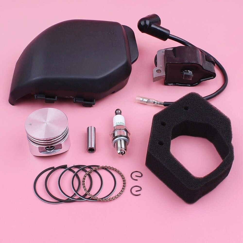 Bobina de encendido Cubierta de filtro de aire Conjunto de carcasa de primera muesca para Honda GX25 HHT25S Kit completo de anillo de pistón de 35 mm Motor de cortacésped de 4 tiempos Pieza de repuest