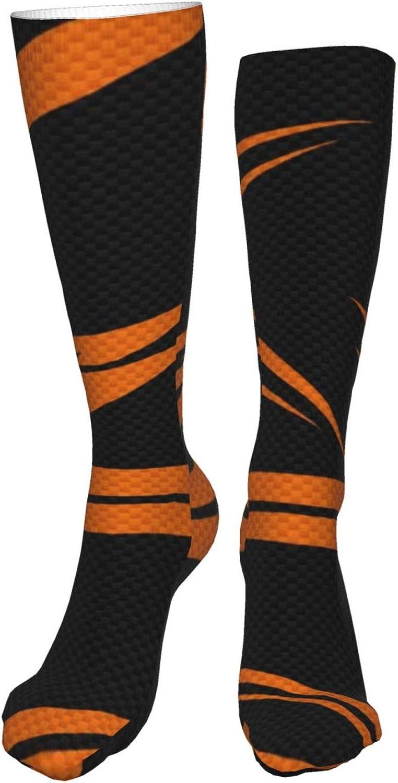 Orange And Black Background Women Premium High Socks, Stocking High Leg Warmer Sockings Crew Sock For Daily And Work