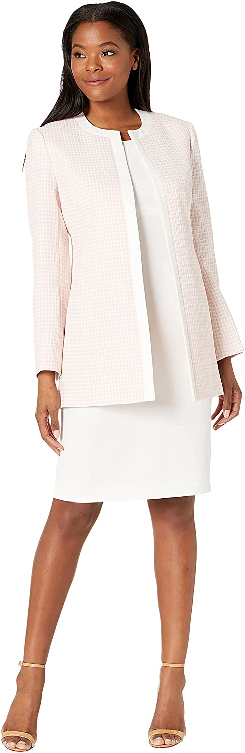 Le Suit Women's Jewel Neck Open Topper with Sleeveless Sheath Dress Mini Houndstooth Suit