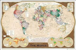 World Map Winkel Tripel Projection Style Decorative Educational Poster Print 24x36