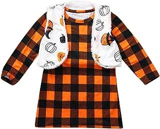 BFYOU Halloween Children Kids Girls Plaid Printed Dress+Reversible Coat Vest Set Suit Orange
