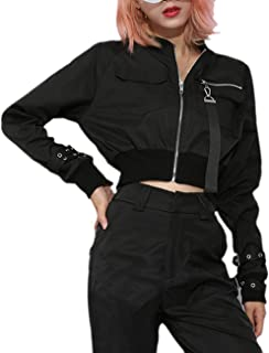 Women's Chic Fashion Stand Collar Shorts Aviator Coats Windbreaker Long Sleeve Cropped Motorcycle Bomber Jackets