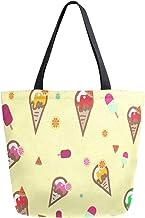 JinDoDo Segeltuch-Tasche für Damen, Obst, Eis, Wassermelone, Orange, wiederverwendbar, für Einkaufen, Reisen, Strand, Schule