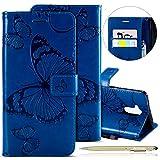 Kompatibel mit Leder Handy Schutzhülle Huawei Honor 6C Lederhülle Schmetterling Muster Leder Handyhülle Handytasche Brieftasche Ledertasche Bookstyle Flip Hülle Cover Klapphülle,Blau