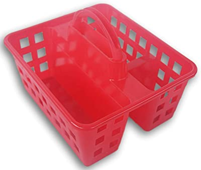 Storage Solutions Plastic Utility Shower Caddy Tote (Red)