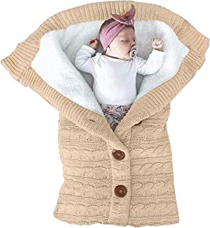 XMWEALTHY Unisex Infant Swaddle Blankets Soft Thick Fleece Knit Baby Girls Boys Stroller..